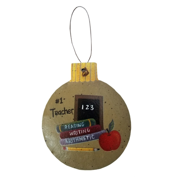 Other - Round Christmas #1 Teacher Rustic Ornament